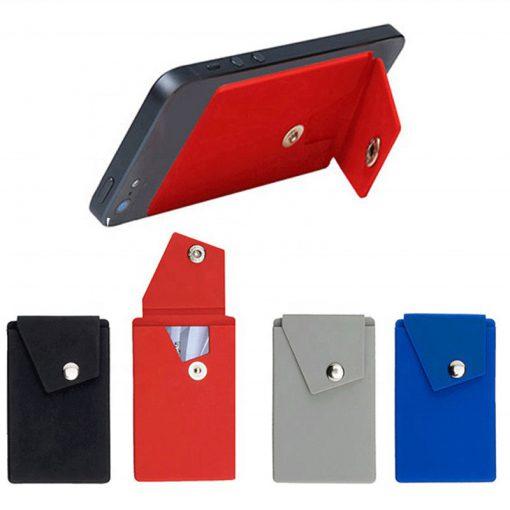 ซองติดโทรศัพท์มือถือ ซองใส่บัตรติดมือถือ ซองซิลิโคนมีฝาปิดกระดุม ใช้ตั้งวางเครื่องได้
